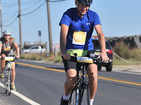Dr. Lancman pedaling for 30 miles
