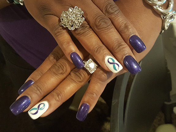 PNES awareness ribbon featured on nails
