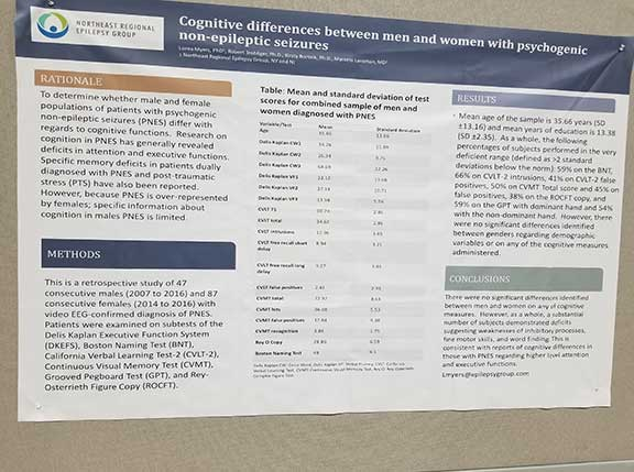 Dr. Myers' poster on cognitive differences in PNES