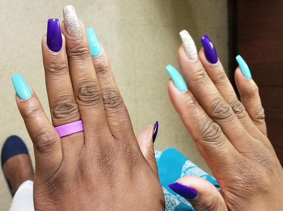 Purple and teal awareness nails