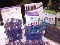 Delicious chocolate awareness lollipops and aroma pens were handed out at AES